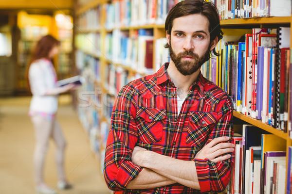 Komoly diák könyvtár egyetem nő oktatás Stock fotó © wavebreak_media