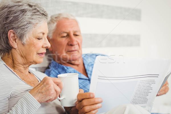 Senior couple reading newspaper Stock photo © wavebreak_media