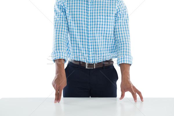 Férfi igazgató megérint láthatatlan képernyő asztal Stock fotó © wavebreak_media