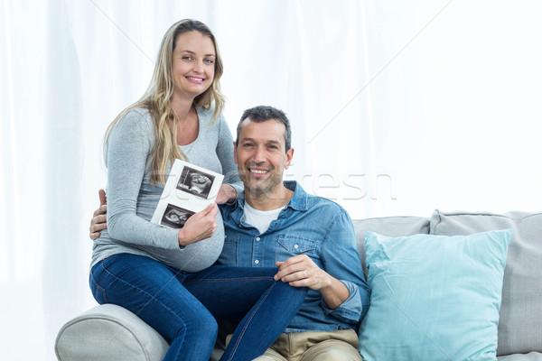 çift ultrason taramak portre oturma kanepe Stok fotoğraf © wavebreak_media