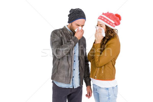 Beteg fiatal pér orrot fúj fehér férfi női Stock fotó © wavebreak_media