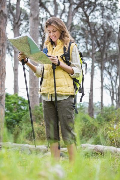 女性 地図 コンパス ツリー 幸せ ストックフォト © wavebreak_media