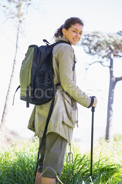 Woman with hiking sticks Stock photo © wavebreak_media