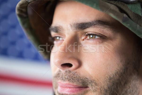 солдата американский флаг человека безопасности флаг Сток-фото © wavebreak_media