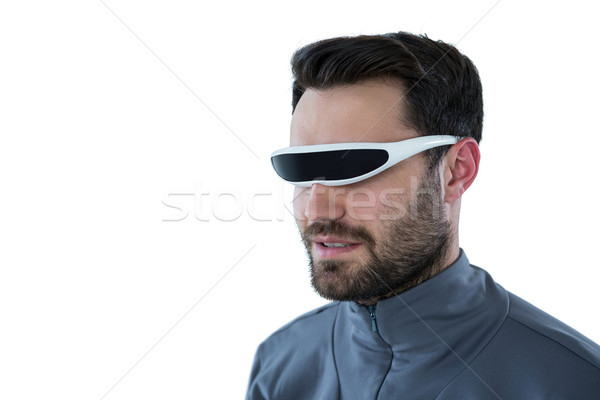 男 バーチャル 現実 眼鏡 白 通信 ストックフォト © wavebreak_media