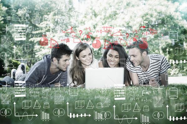 изображение математика счастливым студентов используя ноутбук Сток-фото © wavebreak_media