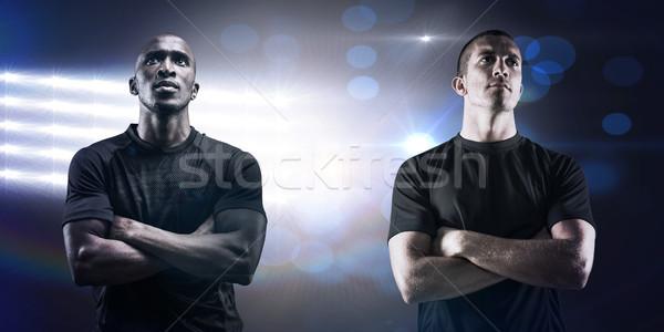 összetett kép figyelmes rögbi játékos keresztbe tett kar Stock fotó © wavebreak_media