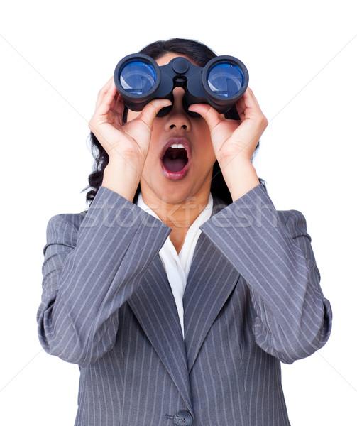 Empresária olhando binóculo isolado branco mulher Foto stock © wavebreak_media