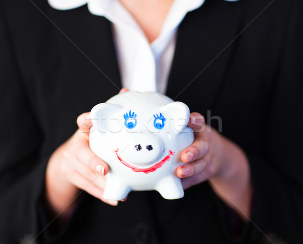 Fiatal nő tart funky persely fiatal üzletasszony Stock fotó © wavebreak_media