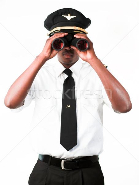 Pilóta néz látcső üzlet kéz öltöny Stock fotó © wavebreak_media