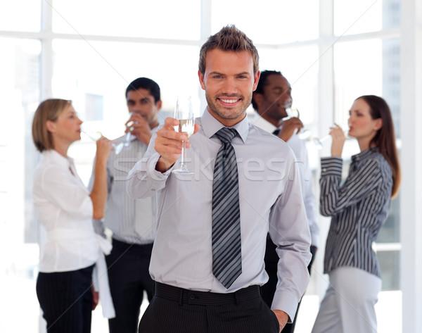 Stock fotó: Boldog · üzleti · csapat · iszik · pezsgő · iroda · bor