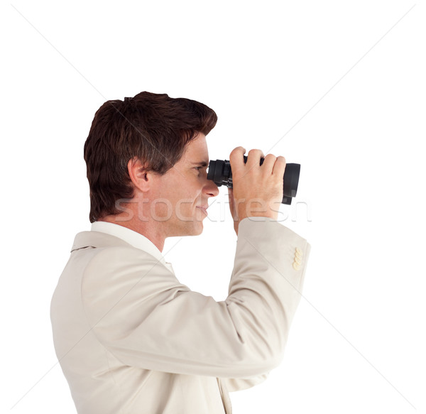 Imprenditore binocolo uomo suit futuro guardare Foto d'archivio © wavebreak_media