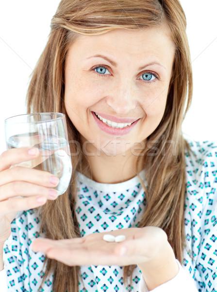 Chorych młoda kobieta szkła wody pigułki Zdjęcia stock © wavebreak_media