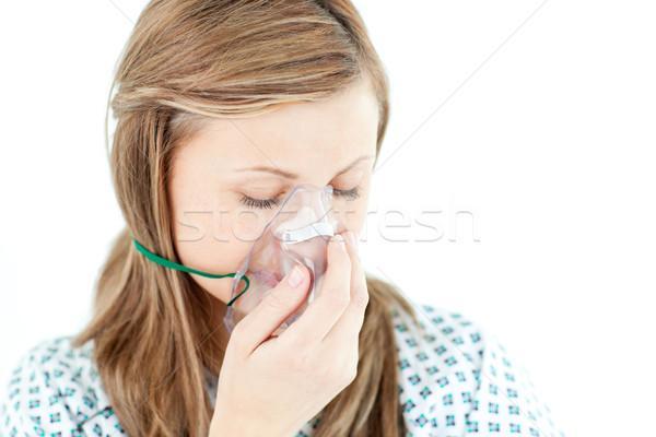 Depressief vrouwelijke patiënt masker witte persoon Stockfoto © wavebreak_media