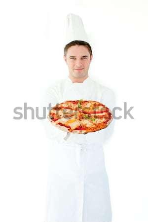 Kafkas erkek pişirmek pizza beyaz Stok fotoğraf © wavebreak_media