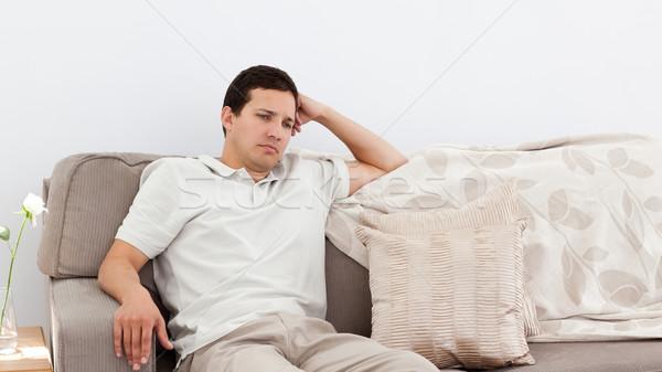 Depressiv Mann Denken Sofa allein home Stock foto © wavebreak_media