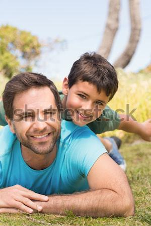 Father playing with his son in the park Stock photo © wavebreak_media