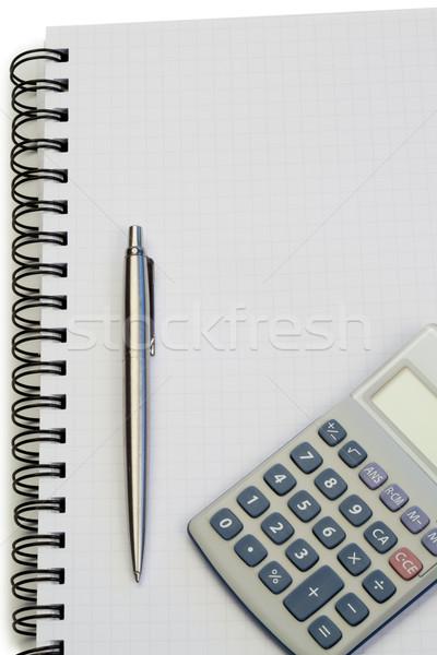 Defter kalem cep hesap makinesi beyaz kâğıt Stok fotoğraf © wavebreak_media