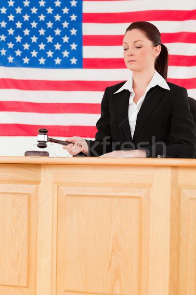 Centrado juez martillo bandera de Estados Unidos mano ley Foto stock © wavebreak_media
