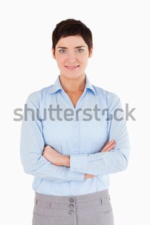 Portré nő keresztbe tett kar szemben kamera test Stock fotó © wavebreak_media