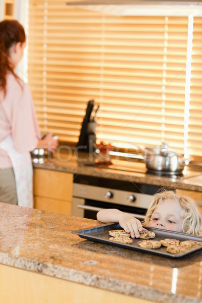 Sneaky boy stealing cookies from the kitchen counter Stock photo © wavebreak_media