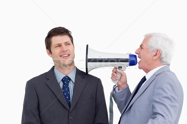 Közelkép érett üzletember megafon kiabál alkalmazott Stock fotó © wavebreak_media
