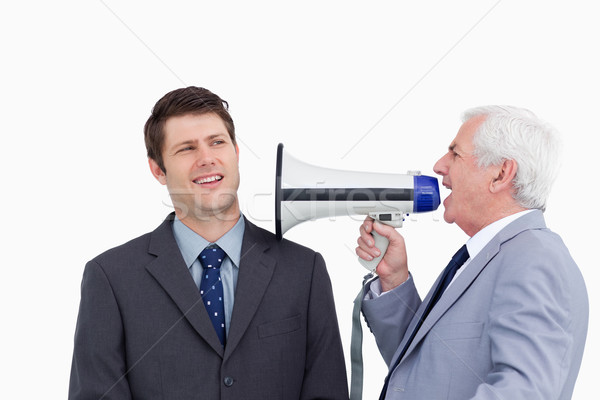 Volwassen zakenman megafoon werknemer Stockfoto © wavebreak_media