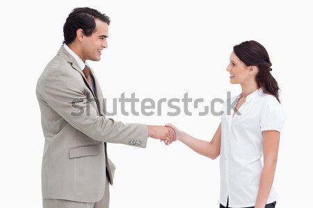 Side view of salespeople shaking hands against a white background Stock photo © wavebreak_media