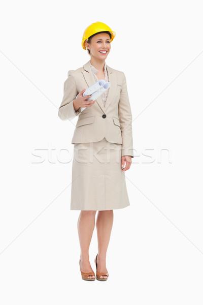 женщину костюм белый улыбка Сток-фото © wavebreak_media