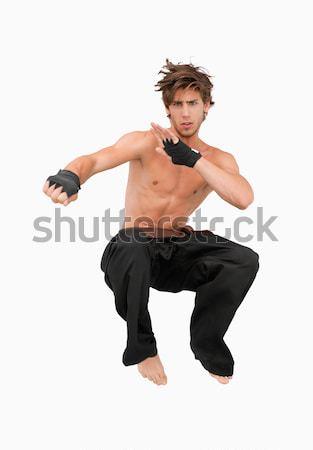 Stockfoto: Springen · vechtsporten · vechter · witte · sport · strijd