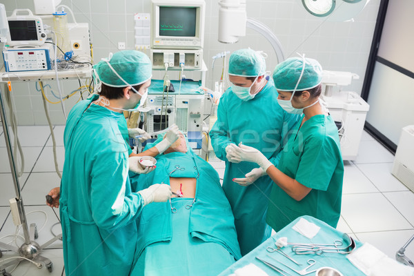 Stockfoto: Chirurg · patiënt · ziekenhuis · monitor