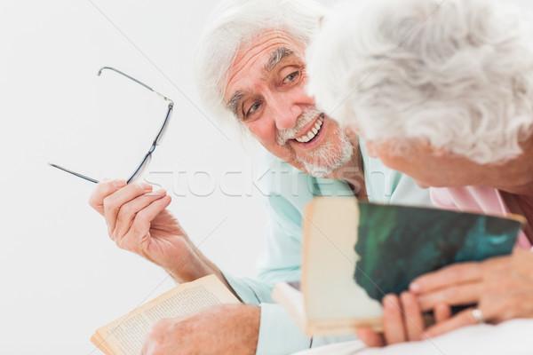 Koca gülen eş yatak yaşlı adam Stok fotoğraf © wavebreak_media