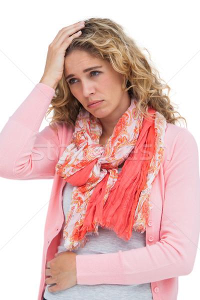 Blonde vrouw beide hoofdpijn buik pijn witte Stockfoto © wavebreak_media