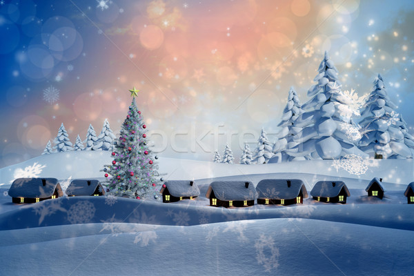 Image neige couvert village paysage Photo stock © wavebreak_media