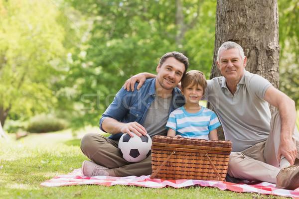 Nagyapa apa fia piknikkosár park portré család Stock fotó © wavebreak_media