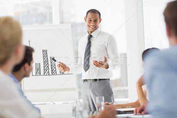 Szczęśliwy młodych biznesmen wykres słupkowy pracowników Zdjęcia stock © wavebreak_media