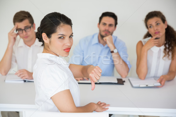 Stock fotó: Női · jelölt · gesztikulál · hüvelykujjak · lefelé · portré