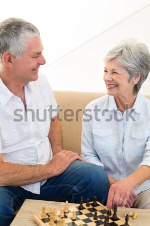 Iskambil kartları ev kadın sevmek çift Stok fotoğraf © wavebreak_media