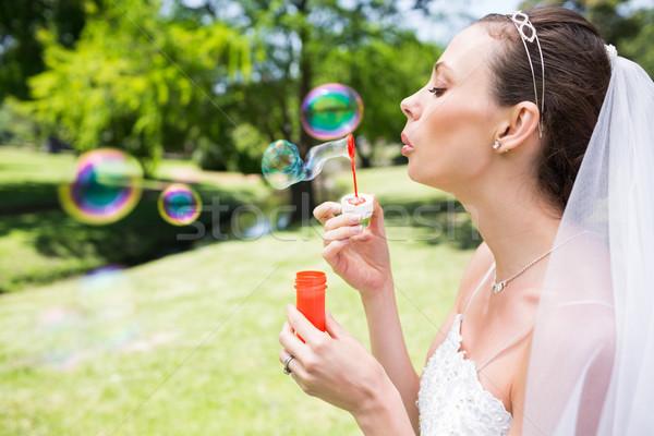 Gyönyörű menyasszony buborékfújás kert közelkép nő Stock fotó © wavebreak_media