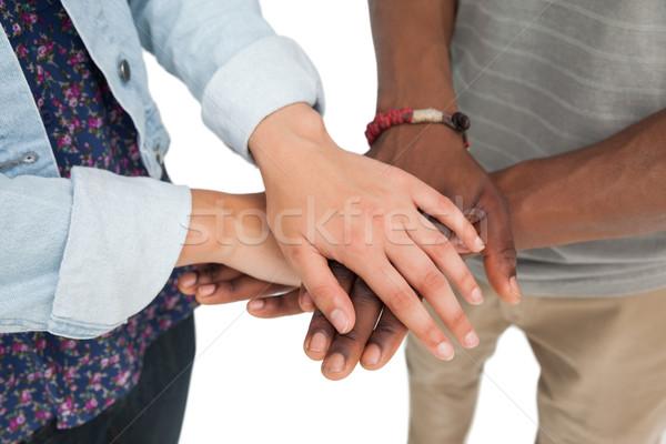 Középső rész pár kezek együtt közelkép fehér Stock fotó © wavebreak_media
