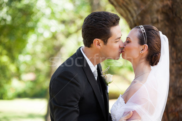 Romantica newlywed Coppia bacio parco vista laterale Foto d'archivio © wavebreak_media