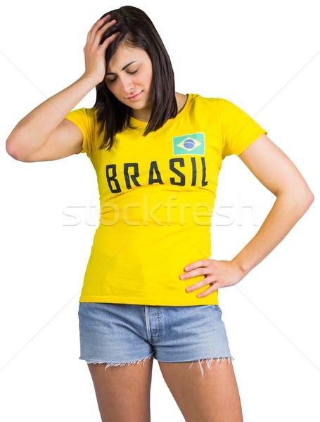 Zaklatott futball ventillátor Brazília póló fehér Stock fotó © wavebreak_media
