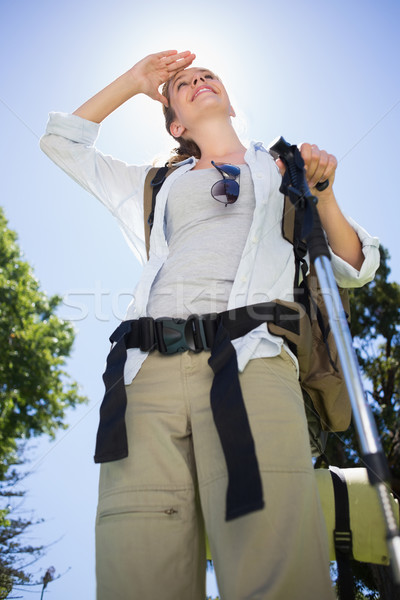 Passen Frau stehen Wandern Pol Park Stock foto © wavebreak_media