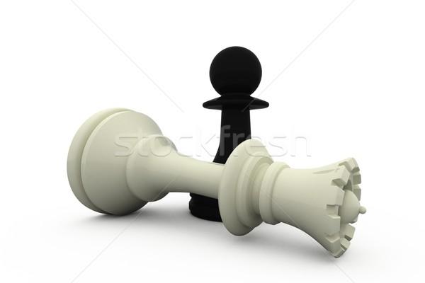 Negro peón blanco reina ajedrez victoria Foto stock © wavebreak_media