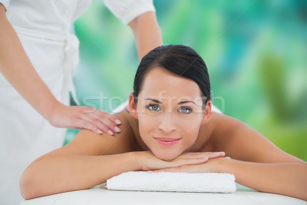 Bella bruna indietro massaggio sorridere Foto d'archivio © wavebreak_media