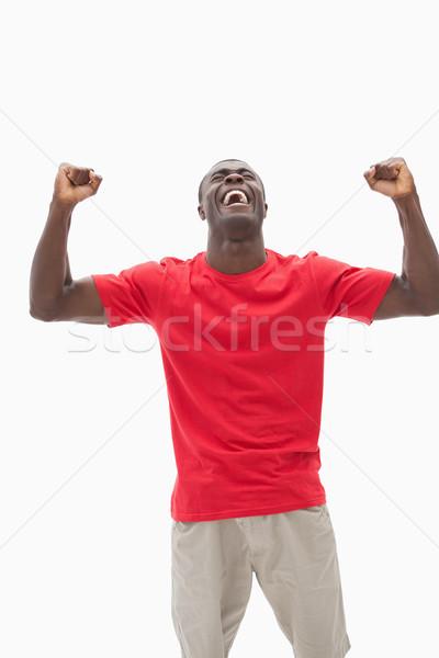 Futebol ventilador vermelho branco esportes Foto stock © wavebreak_media
