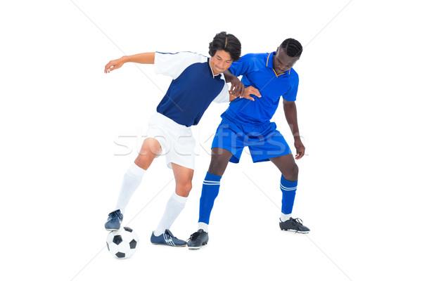 Foto d'archivio: Calcio · giocatori · palla · bianco · mondo · blu