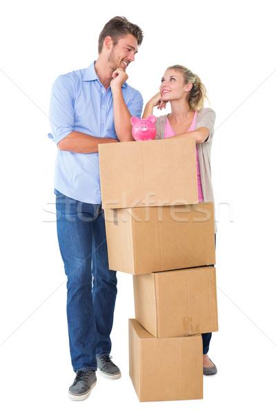 Stock foto: Anziehend · Boxen · Sparschwein · weiß