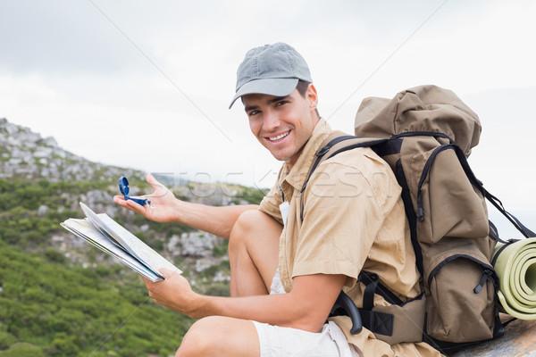 походов человека карта горные местность портрет Сток-фото © wavebreak_media