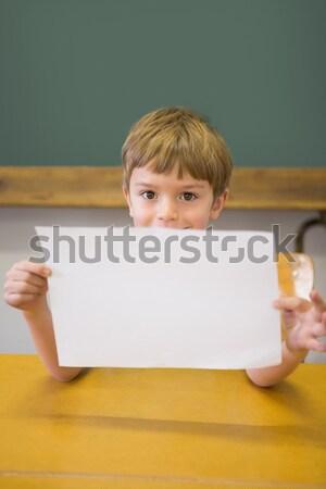 Aranyos mosolyog kamera osztályterem mutat oldal Stock fotó © wavebreak_media